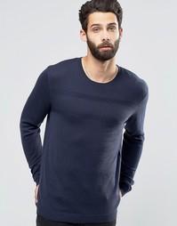 Джемпер из мериносовой шерсти с фактурной строчкой ASOS - Темно-синий