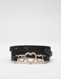 Узкий ремешок с отделкой сердечками ASOS - Черный