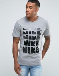 Серая футболка с принтом Nike 807936-091 - Серый