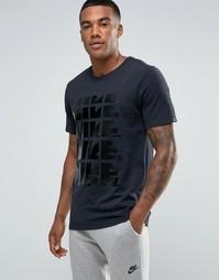 Черная футболка с повторяющимся принтом Nike 807936-010 - Черный