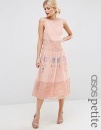 Платье-сорочка макси с неоновой вышивкой ASOS PETITE COLLECTIONS