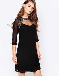 Платье-туника с отделкой и рукавами 3/4 Little Mistress - Черный