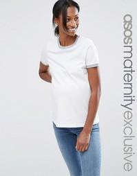 Футболка с кантом для беременных ASOS Maternity - Белый