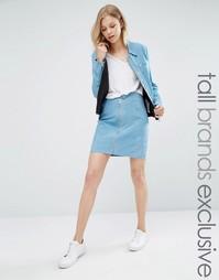 Замшевая мини‑юбка на молнии Adpt Tall Co-Ord - Нежно-голубой