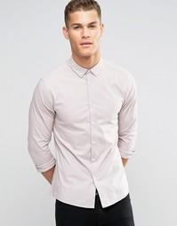Розовая облегающая рубашка с воротником на пуговицах ASOS