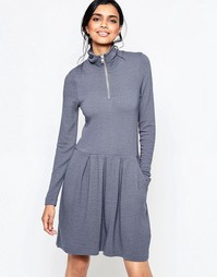 Ganni Lake Wood Dress with Wide Pleat Skirt and Zip Through Neck