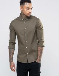 Зауженная рубашка цвета хаки с воротником на пуговицах ASOS - Хаки
