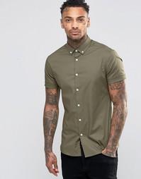 Облегающая рубашка оливкового цвета с воротником на пуговицах ASOS
