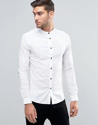 Белая рубашка суперзауженного кроя с контрастными пуговицами ASOS