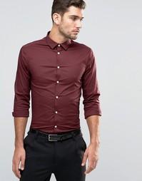 Рубашка узкого кроя с длинными рукавами ASOS - Burgundy