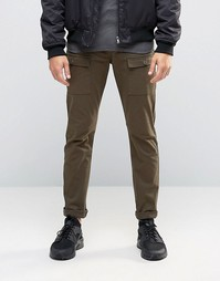 Супероблегающие брюки цвета хаки в стиле карго ASOS - Хаки