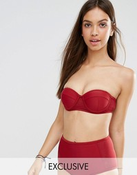 South Beach Red Boost Bandeau Bikini Top - Красный