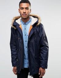 Пальто-парка с искусственным мехом на капюшоне Farah - Темно-синий