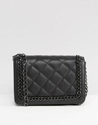 Стеганая сумка на плечо с ремешком-цепочкой ASOS - Черный