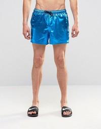Сине-зеленые короткие шорты для плавания металлик ASOS - Синий