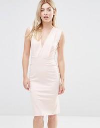 Платье-футляр длины миди с V-образным вырезом Alter Petite - Blush