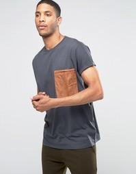 Свободная футболка с карманом из искусственной замши ASOS