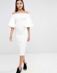 Платье миди с открытыми плечами и рукавами-оборками AQAQ Rising