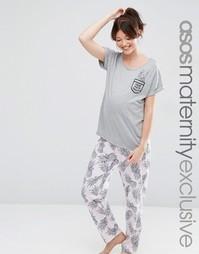 Пижамные футболка и брюки для беременных с ананасами ASOS Maternity