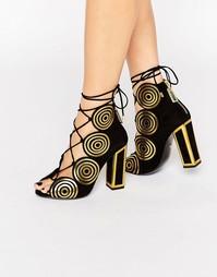 Кожаные сандалии на каблуке Kat Maconie Vera - Gold spiral