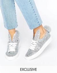 Серебристые кроссовки с заячьим хвостиком и ушками Minna Parikka