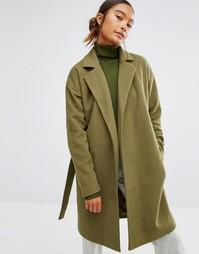 Пальто с поясом First & I - Темно-оливковый