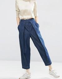 Джинсы в винтажном стиле со складками спереди ASOS WHITE - Синий