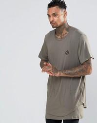 Длинная футболка с удлиненной кромкой Criminal Damage - Зеленый
