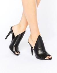 Public Desire Corina Black Heeled Mules - Черный полиуретан