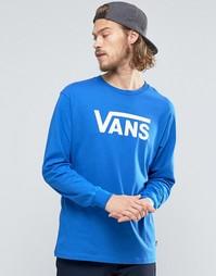 Синяя классическая футболка с длинными рукавами и логотипом Vans V00K6
