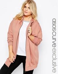 Oversize-худи на молнии спереди ASOS CURVE - Розовый