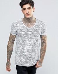 Стретчевая футболка узкого кроя с глубоким вырезом и принтом рыб Scotc Scotch &; Soda