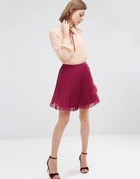 Плиссированная мини-юбка ASOS - Wine