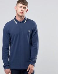 Синяя футболка-поло с длинными рукавами Fred Perry - Синий