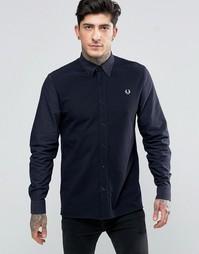 Темно-синяя рубашка слим с контрастной отделкой спереди Fred Perry