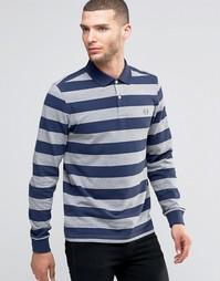 Меланжевая футболка-поло в полоску с длинными рукавами Fred Perry
