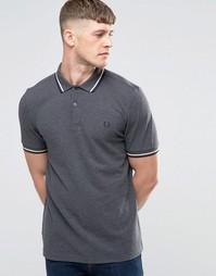 Серая меланжевая футболка-поло с контрастной отделкой Fred Perry