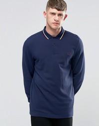 Синяя футболка-поло с длинными рукавами Fred Perry - Графитовый синий