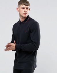 Черная футболка‑поло с длинными рукавами Fred Perry - Черный