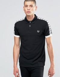 Черно-белая футболка‑поло с отделкой лентой на рукавах Fred Perry