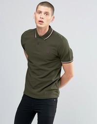 Зеленая футболка-поло с контрастной отделкой Fred Perry - Hunt gr