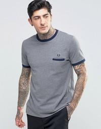 Серая меланжевая футболка с карманом на груди Fred Perry Ringer
