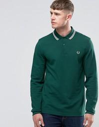 Зеленая футболка-поло с длинными рукавами Fred Perry - Плющ