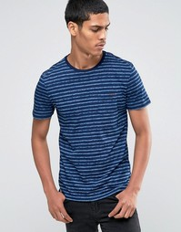 Celio Crew Neck Stripe T-shirt - Темный индиго