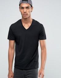 Celio V-Neck T-shirt in Slim Fit - Noir
