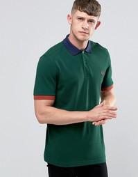 Зеленая футболка-поло с контрастной отделкой Fred Perry - Плющ