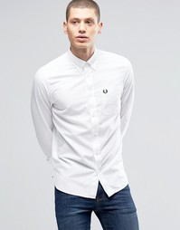 Оксфордская белая рубашка слим с карманом Fred Perry - Белый