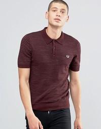 Меланжевая вязаная футболка‑поло в полоску Fred Perry - Vin pt ml