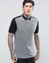 Черная футболка‑поло зауженного кроя с контрастной вставкой Fred Perry