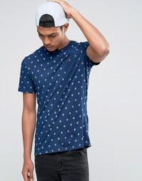Celio Crew Neck Pocket T-shirt with All Over Print - Indigo - индиго